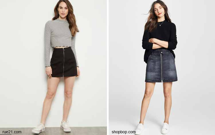 Tampil Fashionable Dengan Rok Mini - Mini zip front skirt