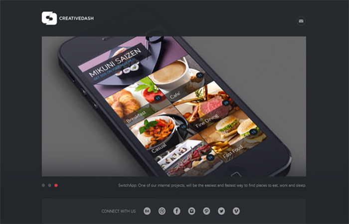 Interface mobile Creative Dash