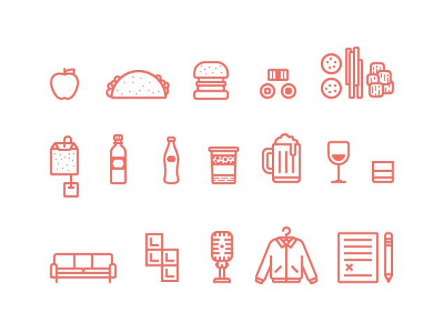 Icons pour UI designer food