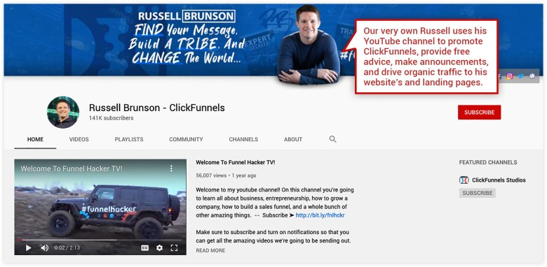 Canale YouTube ClickFunnels