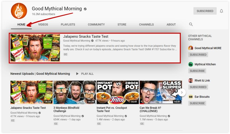 Schermata del canale YouTube Good Mythical Morning