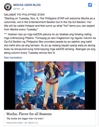 Screenshot from Mocha Uson Blog Facebook page