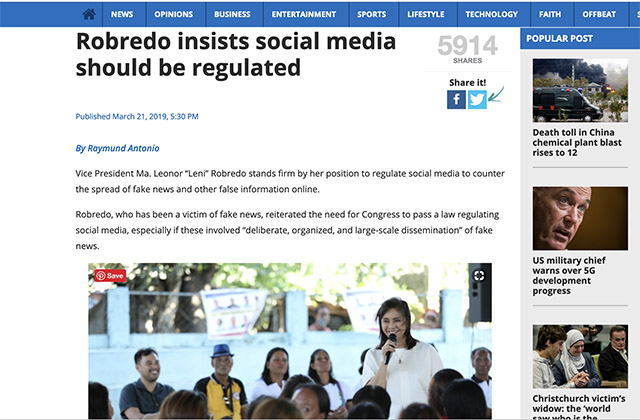 robredo and social media