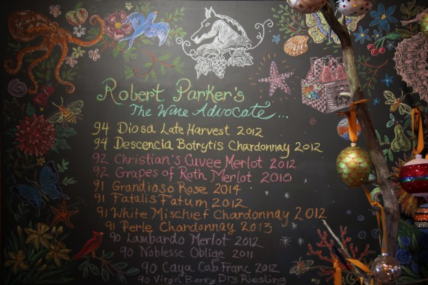 Wölffer wine offerings board