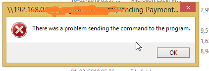 There was a problem sending the command to the program - Excel Error