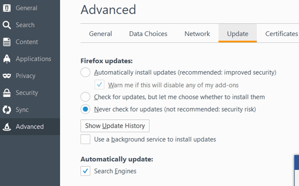 How to Stop Firefox updates.