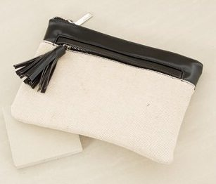 Adorne Two Toned Zip Front Clutch with Tassel