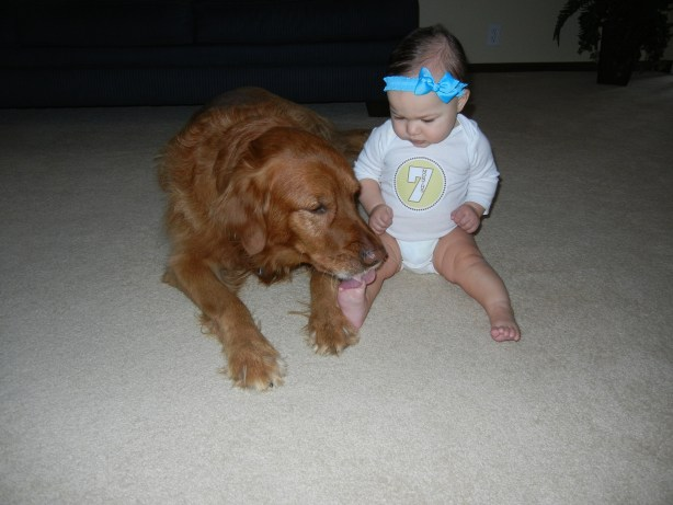 7 month old with puppy
