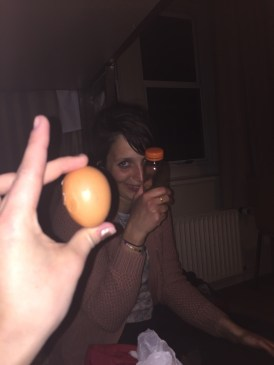 Lea stole a boiled egg from the hostel and forgot it was in her bag ahaha!