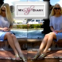 {BLONDi Style Diary} Grey Casual Top and Blue Mini Skirt