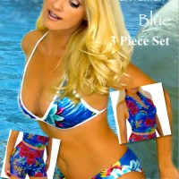Hawaiian Blue 3 Piece Swimsuit Set and Coverup Special Offer