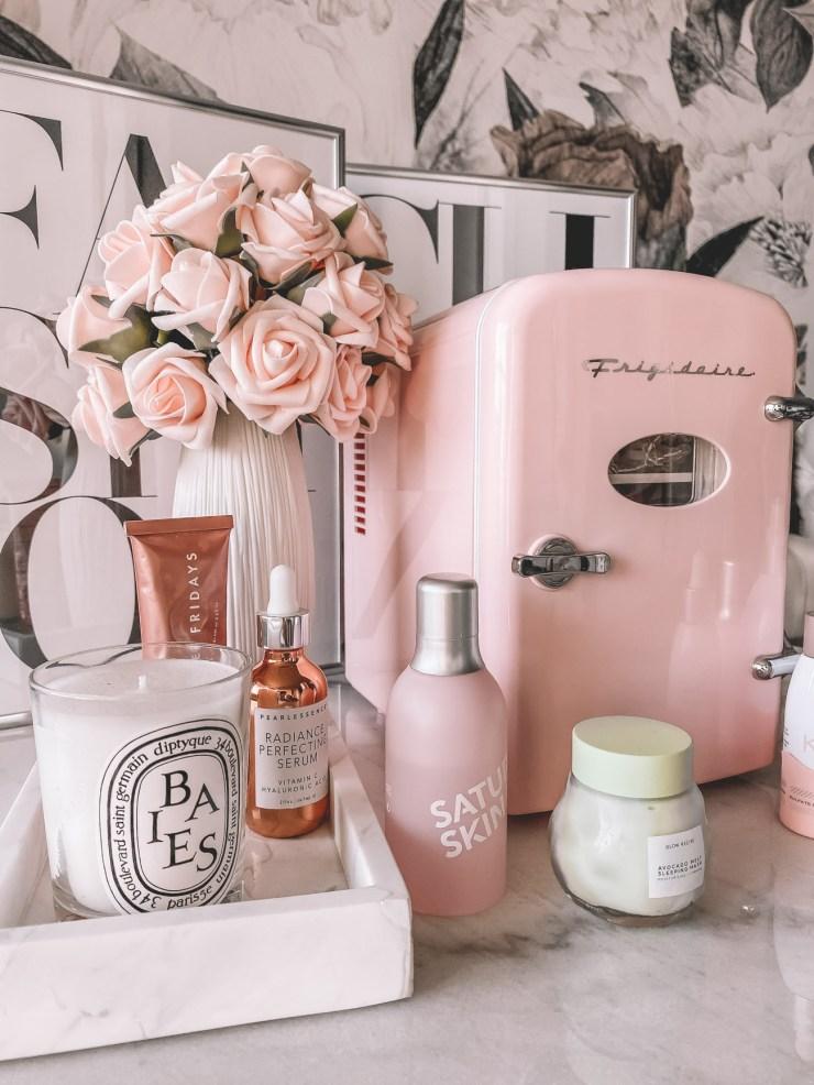vintage blush pink skincare fridge