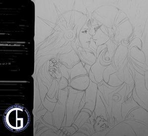 Leona x Diana drawing by Blondynki Też Grają - League of Legends art