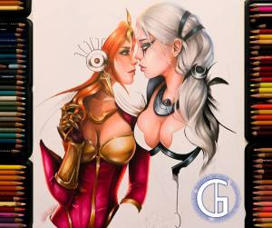 Leona x Diana drawing by Blondynki Też Grają - League of Legends art
