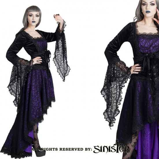 Black lace gothic corsetskirt with fishtail effect by Sinister