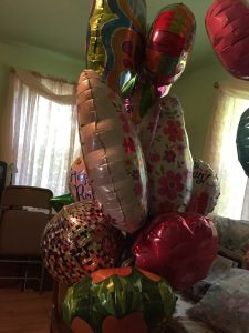 Mylar balloons for Barbara Custer, horror author