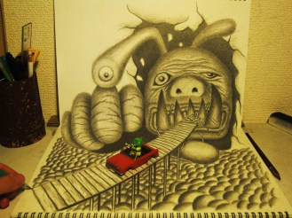 3D-Pencil-drawings-in-sketchbooks-nagai-hideyuki-11