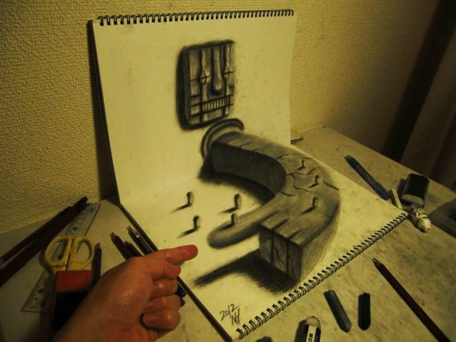 3D-Pencil-drawings-in-sketchbooks-nagai-hideyuki-6