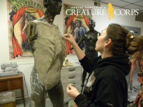 Beki Ingram scupts the female werewolves chest.