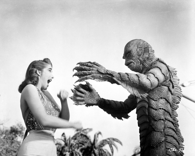 Pictured: Julie Adams and the Gill Man in CREATURE FROM THE BLACK LAGOON, 1954.