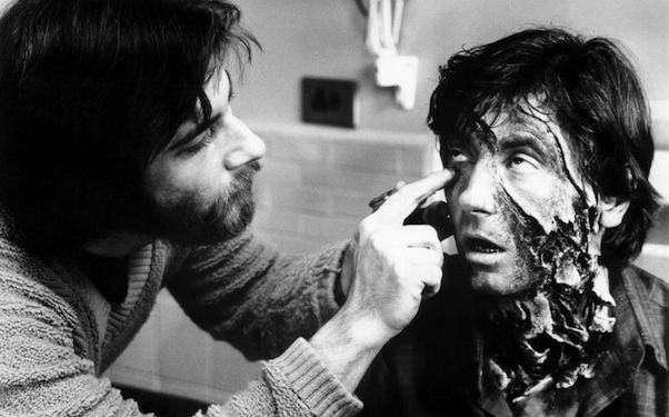 AN AMERICAN WEREWOLF IN LONDON, Rick Baker, left, applies makeup to Griffin Dunne, on-set, 1981, ©Universal/courtesy Everett Collection
