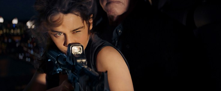 Left to right: Emilia Clarke plays Sarah Connor and Arnold Schwarzenegger plays the Terminator in Terminator Genisys from Paramount Pictures and Skydance Productions