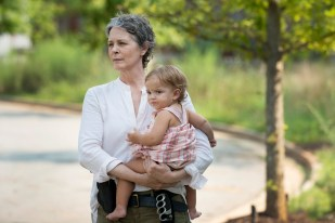 Melissa McBride as Carol Peletier and Judith - The Walking Dead _ Season 6, Episode 7 - Photo Credit: Gene Page/AMC