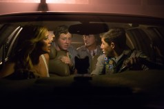 Left to right: Sarah Dumont plays Denise, Joey Morgan plays Augie, Logan Miller plays Carter and Tye Sheridan plays Ben in SCOUTS GUIDE TO THE ZOMBIE APOCALYPSE from Paramount Pictures.