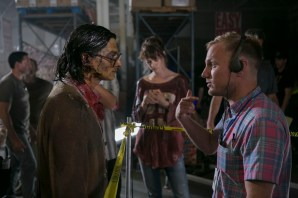 """Director Robbie Pickering gives notes to Josh Fadem between takes on the set of Columbia Pictures' """"Freaks of Nature."""""""