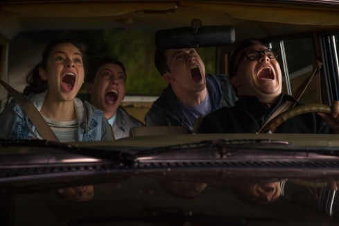 """L-r, Odeya Rush, Ryan Lee, Dylan Minette and Jack Black star in Columbia Pictures' """"Goosebumps."""""""