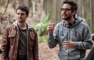Shiloh Fernandez and Director Fede Alvarez on the set of TriStar Pictures' horror EVIL DEAD.