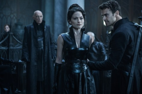 Lara Pulver (center), Theo James (right) and James Faulkner (left) in Screen Gems' UNDERWORLD: BLOOD WARS.