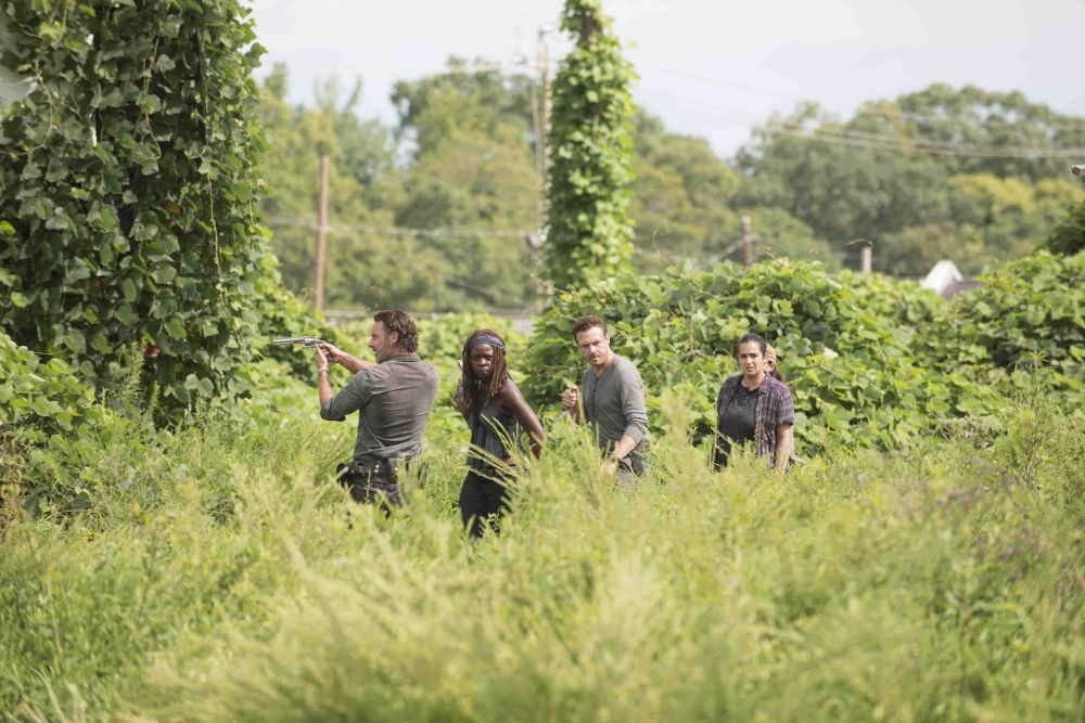 Andrew Lincoln as Rick Grimes, Danai Gurira as Michonne, Ross Marquand as Aaron, Alanna Masterson as Tara Chambler; group - The Walking Dead _ Season 7, Episode 9 - Photo Credit: Gene Page/AMC