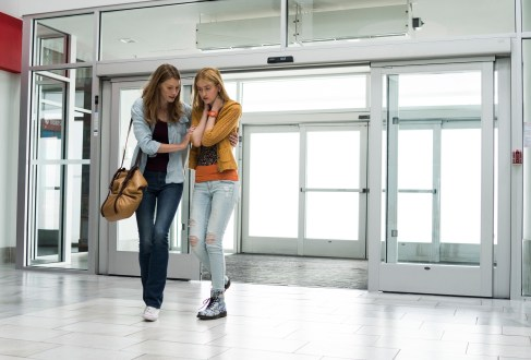 From l to r: Eve Copeland (Alyssa Sutherland) will go to any length to protect her daughter Alex (Gus Birney) from the dangers that lurk both inside and outside of the mall when an eerie mist rolls into their small town. Spike TV's THE MIST, based on a story by Stephen King, premieres on Thursday, June 22 at 10 PM, ET/PT.