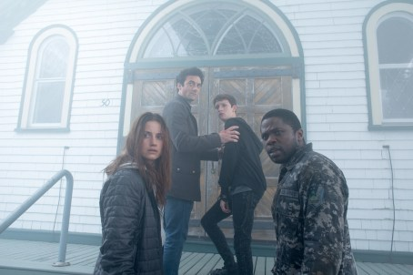 From l to r: Mia Lambert (Danica Curcic), Kevin Copeland (Morgan Spector) Adrian Garf (Russell Posner) and Bryan Hunt (Okezie Morro), seek sanctuary in a local church from an eerie and foreboding mist containing a myriad of inexplicable and bizarre threats puts their humanity to the test in Spike TV's THE MIST, based on a story by Stephen King, which premieres Thursday, June 22 at 10 PM, ET/PT.