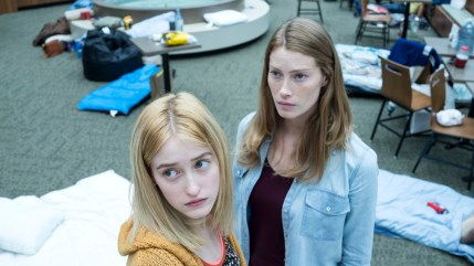 From r to l: Eve Copeland (Alyssa Sutherland) will go to any length to protect her daughter Alex (Gus Birney) from the dangers that lurk both inside and outside of the mall when an eerie mist rolls into their small town. Spike TV's THE MIST, based on a story by Stephen King, premieres on Thursday, June 22 at 10 PM, ET/PT.