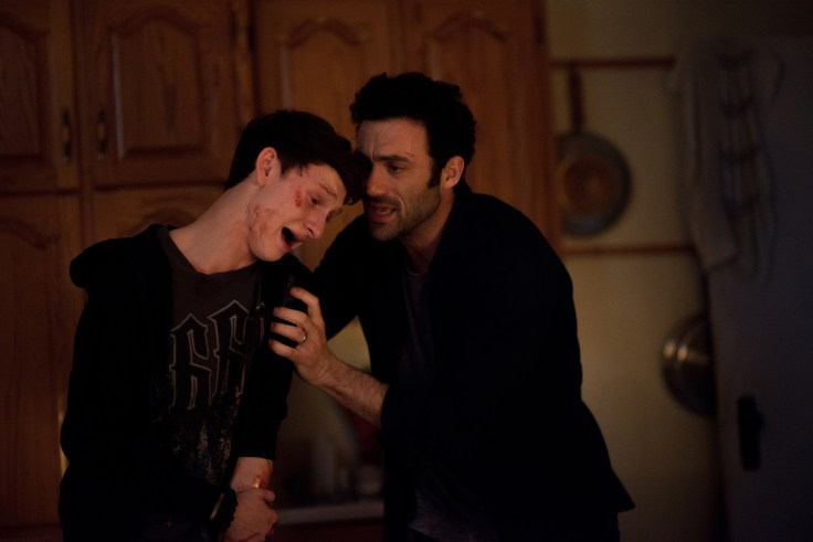 From r to l: Kevin Copeland (Morgan Spector) tries to comfort his daughter's best friend Adrian Garf (Russell Posner) as the two search for answers in what has caused an eerie mist to roll into their town in Spike TV's THE MIST, based on a story by Stephen King, which premieres on Thursday, June 22 at 10 PM, ET/PT.