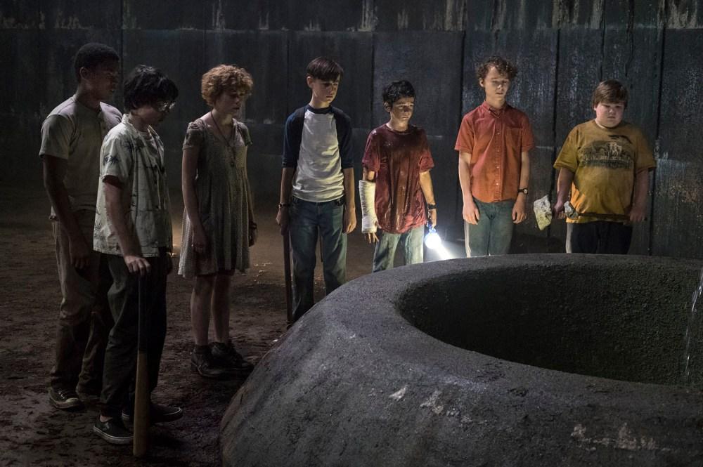 "(L-r) CHOSEN JACOBS as Mike Hanlon, FINN WOLFHARD as Richie Tozier, SOPHIA LILLIS as Beverly Marsh, JAEDEN LIEBERHER as Bill Denbrough, JACK GRAZER as Eddie Kaspbrak, WYATT OLEFF as Stanley Uris and JEREMY RAY TAYLOR as Ben Hascomb in New Line Cinema's horror thriller ""IT,"" a Warner Bros. Pictures release. Photo by Brooke Palmer"