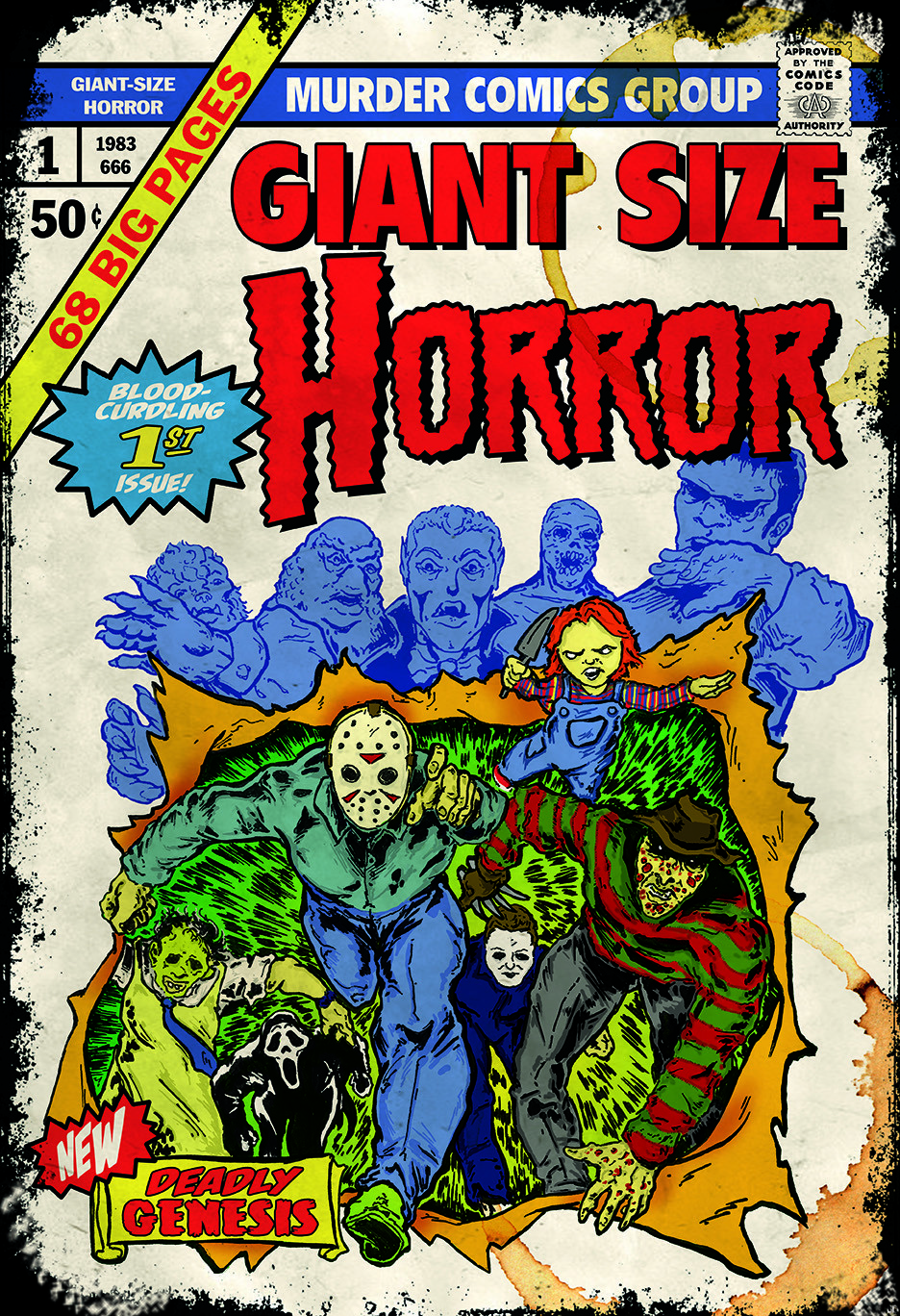 Vintage Comic Book Cover Art : Artist is turning horror movies into faux comic book