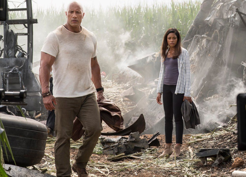 "(L-R) DWAYNE JOHNSON as Davis Okoye and NAOMIE HARRIS in New Line Cinema's action adventure ""RAMPAGE,"" a Warner Bros. Pictures' release. Photo by Frank Masi"