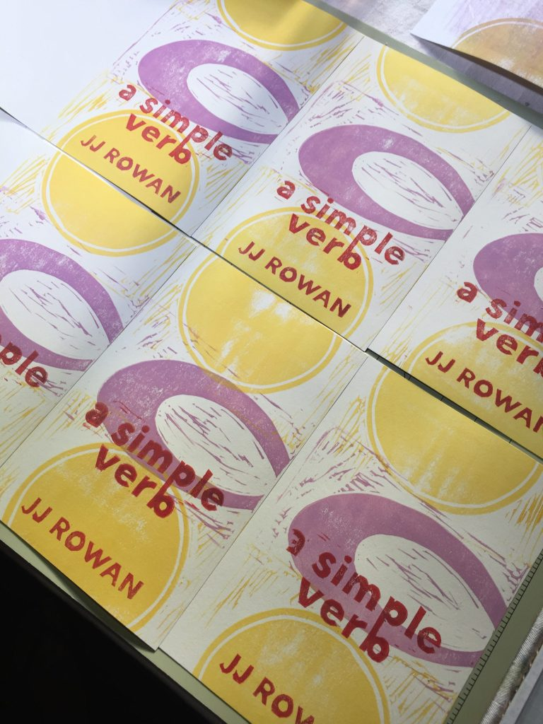 6 handprinted linocut covers with yellow and lavender geometric design and red-orange text.