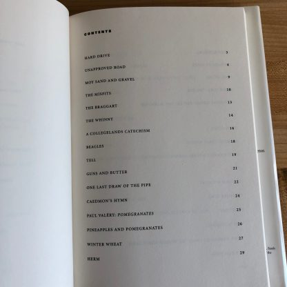 The first page of the Table of Contents for Moy Sand and Gravel by Paul Muldoon.