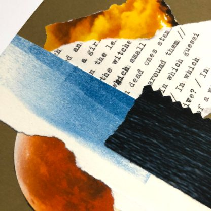 Detail of the collage called (PAPER RUSTLING AND CRINKLING). Torn pieces of fire, ink swipe, and typescript are layered over a cut piece of dark ocean waves and a red planet, against a kraft-brown background.