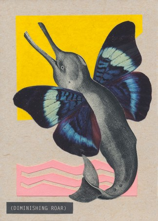 A dolphin-like sea creature with blue, black, and purple butterfly wings leaps into a yellow sky from pink waves in this hand-cut collage on kraft brown stock. A closed-caption style title appears in the lower left: (DIMINISHING ROAR). Versions with white borders are giclée reproductions.