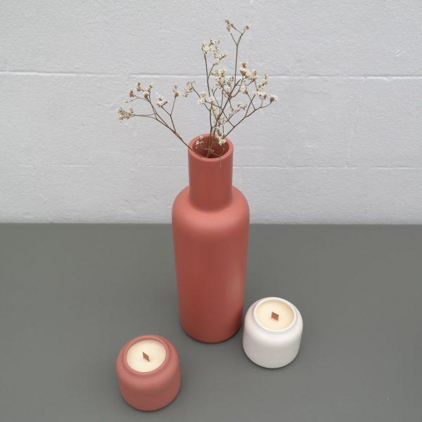 bougies Dahlia et vase Yucca