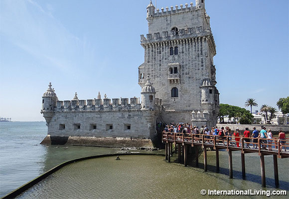 The Torre de Belem, or Belem Tower, is a master work of Manueline  architecture and the symbol of Lisbon. Lisbon, Portugal.