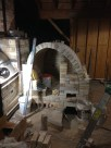 Arch form removed and front wall being built