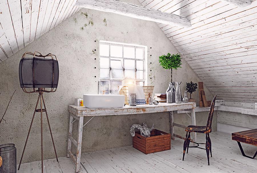 chic distressed furniture in attic bathroom interior