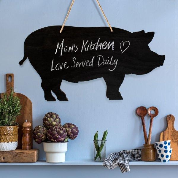 rustic pig chalkboard - on stylish kitchen wall