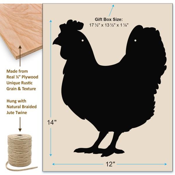 rustic chicken chalkboard - dimensions
